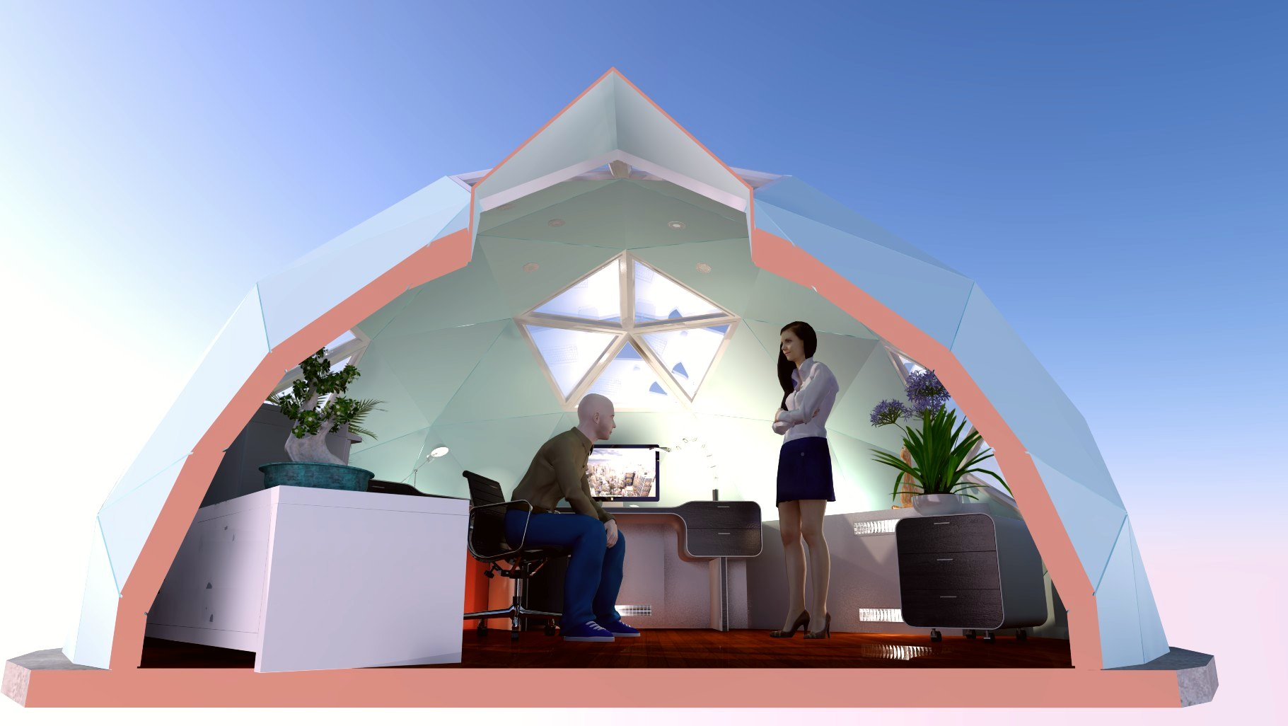 Design cut-away of a Unique Dome as a home office.