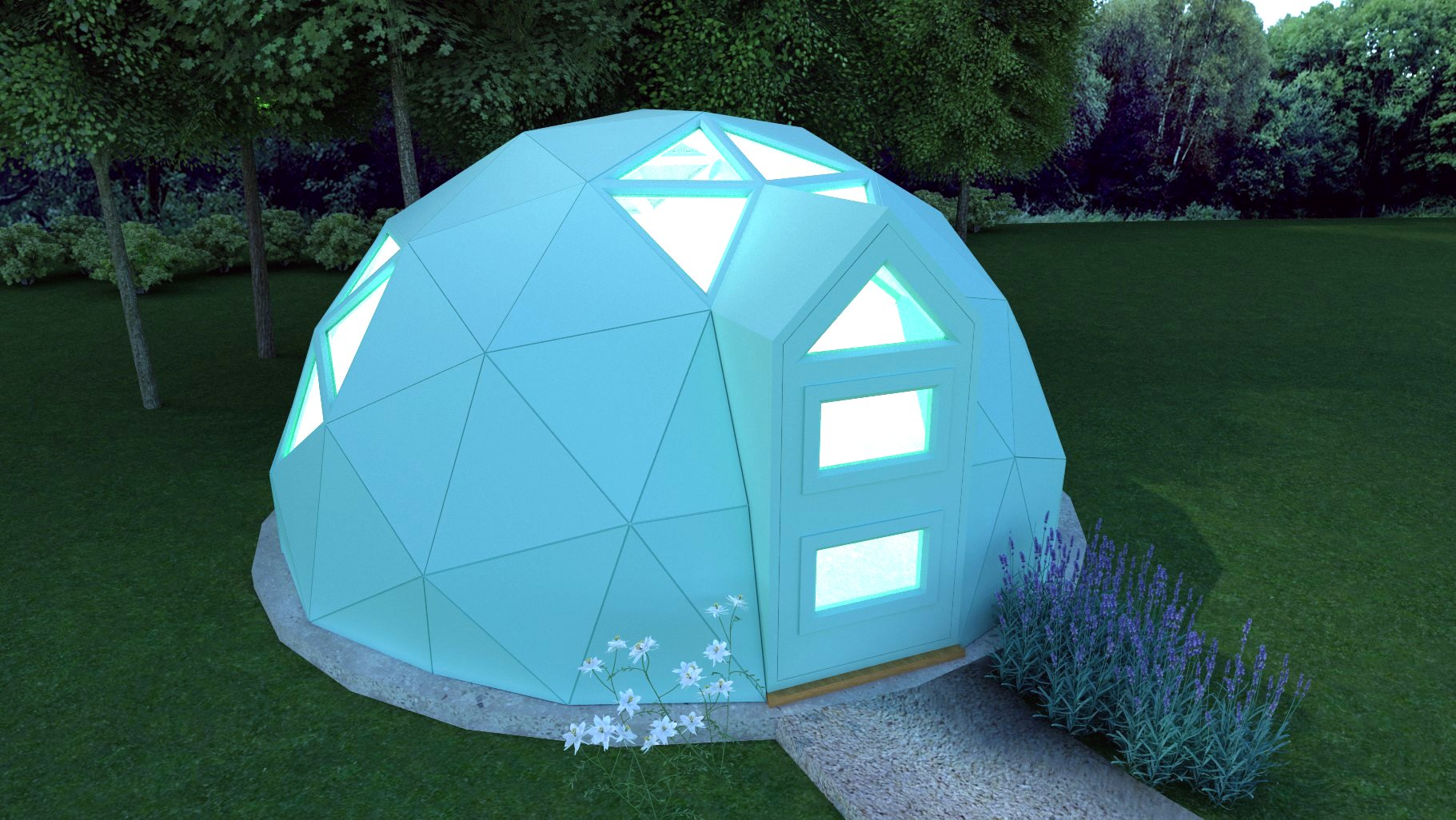 Image of a Unique Dome lit up in a garden setting.