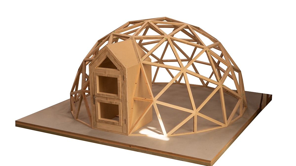Design image of of the wooden shell of a Unique Dome.