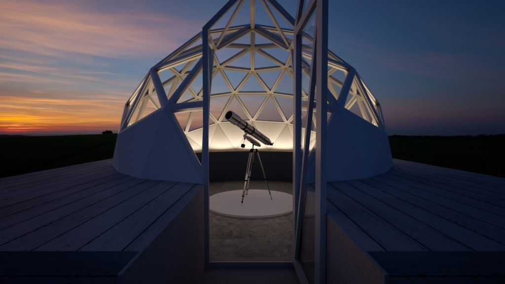 Image of a glazed Unique Dome housing a telescope.