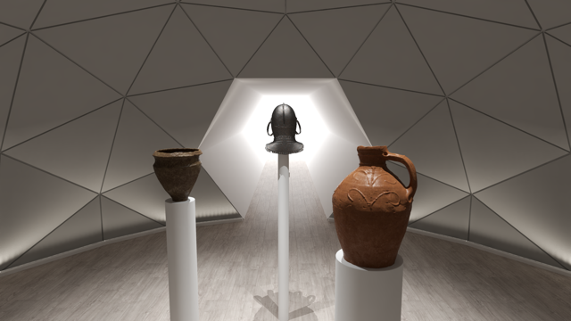 Image of the interior of a Unique Dome as a Gallery exhibition space.
