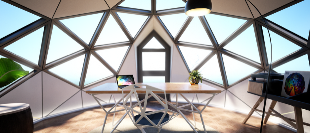 Photo of the interior of a Unique Dome set up as an office space.