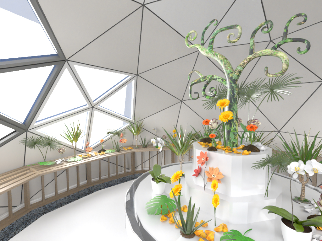 Interior view of a Unique Dome with a stage of unusual plants